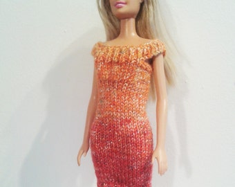 Hand Knitted  Sunset Dress for Barbie