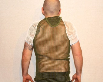 Mens Fishnet Shirt Vintage Royal Danish Army Military Wafer Top Tank Top, Muscle Tank Top, Outdoor Men Baseleyer