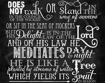 Scripture Art - Psalm 1:1-3 Chalkboard Style