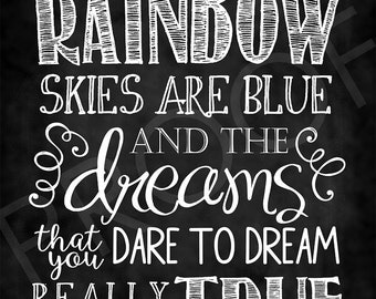 Chalkboard Art - Somewhere Over the Rainbow