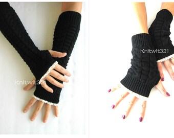 Black Fingerless Gloves, Valentine's Day Gifts, -Womens Arm Warmers-Winter Arm Warmers-Black Gloves-Fingerless Gloves.