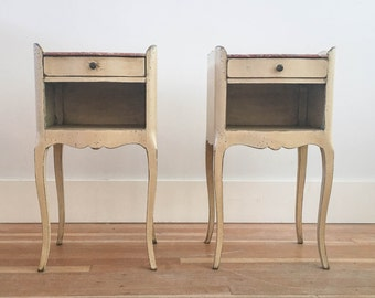Antique French Bedside Tables with Marbleized Top