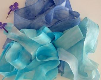 Hand Dyed Silk Ribbon -  Blue Raw Edge Silk Ribbon - Felting Supplies - Shabby Gift Wrap