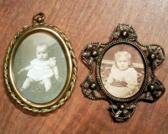 2 Victorian frames - miniature frames - metal frames