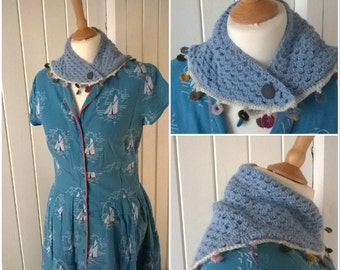 mini crocheted scarflette, neckerchief, shawl