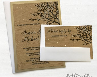 Snowy Woodgrain Wedding Invitation