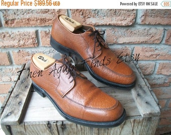 SALE Vintage Hartt Dack Camel Skin Shoe Mens US 9E Made in Canada, Tan Brown Blucher Derby Gunboats Goodyear welted Nailed Soles, Oxfords