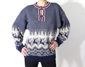 Vintage Men's Norwegian Deer Wool Sweater