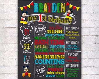Mickey Mouse First Birthday Chalkboard Sign - Printable 1st Birthday Chalkboard Poster - Birthday Board - Personalized Custom Sign - 148
