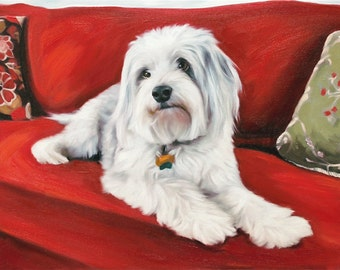 Custom Pet Portrait Painting - personalized art from photo 11x14