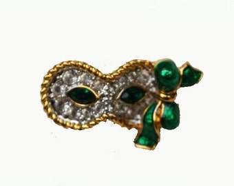 Swarovski Mask Pin rhinestone and green enamel