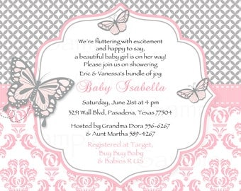 Butterfly pink and Gray damask Baby Shower Invitation Lambs & ivy duchess Inspired - Printable Files