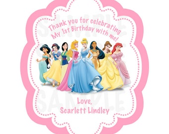 Disney Princess  Inspired or Tea Party Personalized Gift Favor Tags- (DIGITAL FILE)