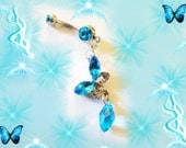 Belly Ring, Aqua Sea Blue Crystal Butterflly With Dangling Crystal Drop, 18KWGp Belly Button Ring Body Jewelry For Women, Or Teens