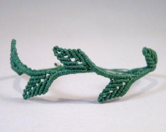 Olive Branch Leaves Micro Macrame Bracelet (226)