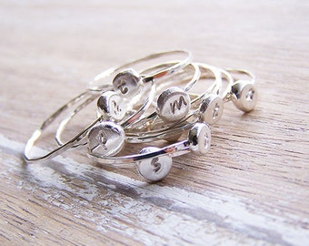 Personalized Stack Ring, Hammered Stack Rings, Knuckle Rings, Stamped Stack Ring, Sterling Silver Stack Rick