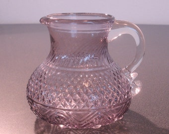 Small Purple Glass Creamer with Clear Handle