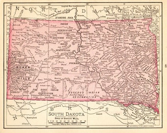 South Dakota Map Etsy - Sd state map