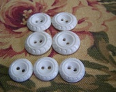 Vintage White Buttons, Floral Design, 2 Sizes Matching Sets  (933)