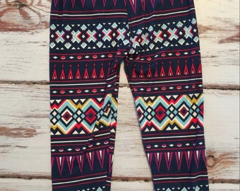 Blue Aztec Girls Soft Comfortable Leggings Only Toddler Sizes 3t 4t 5t 6 7 8 9 10 12 Read To Ship Everyday Matching Raglan Available