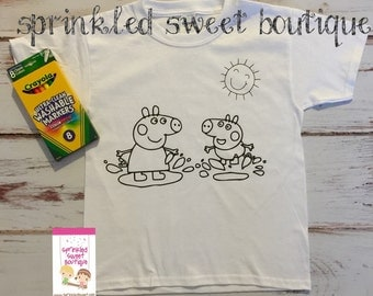 Peppa Pig Boys Girls Custom Made Coloring Shirt Washable Reuse Perfect Birthday Child Gift Party Favor Can Add Name