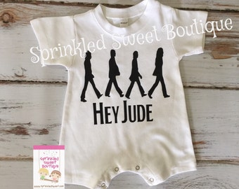 Beetles Inspired Hey Jude Abbey Road Boys Girls Shirt Romper