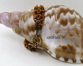 Chainmaille Bracelet, Gold, Orange and Brown Gridlock Byzantine Chainmail Bracelet