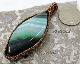 Wire Wrapped Agate Pendant, Copper Wire Wrapped Pendant, Shades of Green Dyed Agate Pendant, Wire Wrapped Pendant, Wire Wrapped Jewelry