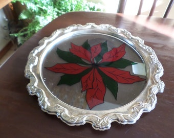 "Beautiful Vintage Glass and Ornate Silverplate Poinsettia Serving/Bakery/Cake/Drink Tray-13"" Round"