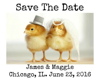 Save The Date Custom Digital Design Featuring Chicks in Wedding Hats With Your Text Added Print Your Own