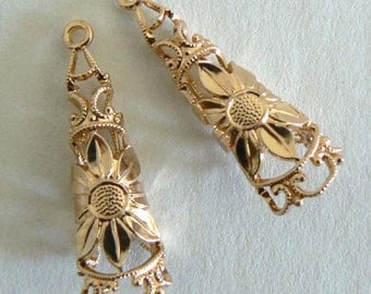 Exquisite Filigree Vintage Beads From West Germany Light Weight Never Worn Gold Tone