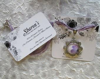 Art Pendant Necklace  - Purple Flower