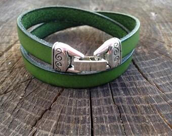 Boho leather wrap bracelet in forest green