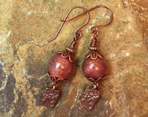 Antique Copper Polymer Clay Bead Dangle Earrings TierraCast Lotus Flower Kumihimo Caps Pierced French Wires USA