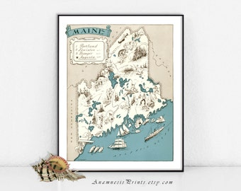 MAINE MAP PRINT - size & color choices - personalize it - framable historical art - perfect gift idea for many occasions - wall decor
