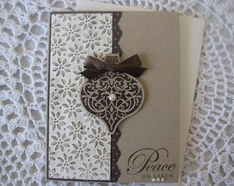 "Handmade Greeting Card: Embossed ""Peace On Earth"""