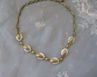 Vintage Brass  white glass beads  Very good with aged patina