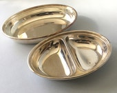 Oval serving dishes Silver plated serving platter Double vegetable dish 2 section dish Serving plates Monarchy Plate