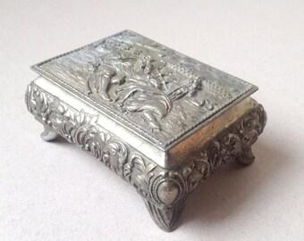 White metal jewelry box, Trinket box, Jewellery casket, Ring box, Proposal ring box, Red lined box
