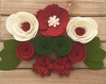 Holiday Handmade Wool Felt Flowers.