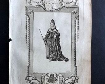 Russell 1779 Antique Portrait Print. Elizabeth