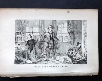 Cruikshank C1860 Antique Satire Print. My Wife Is A Woman Of Mind