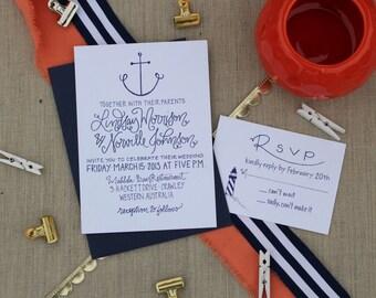 Nautical Wedding Invitations ~ Anchor Wedding Invites ~ Lighthouse Invitations ~ Navy Wedding ~ Yacht Wedding