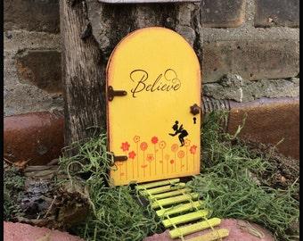 Fairy Door, Fairy Garden, Garden Decor, Yellow, Birthday, Girls Room Decor, Fairy, Outdoor, Wood, Gifts for her, Mothers Day, Doors, flowers
