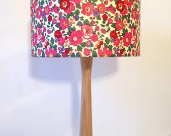 liberty fabric lampshade and ash table lamp