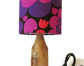 REDUCED Hand turned table lamp with vintage boras swedish fabric