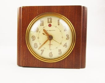 A Wood Framed Clock - 'General Electric' Alarm  - Electric Clock With Second Hand - 1940s Alarm Clock - Deco Style Clock