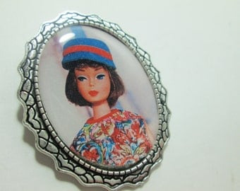 Recycled Magazine Clipping Brooch / Barbie /Item 10-410