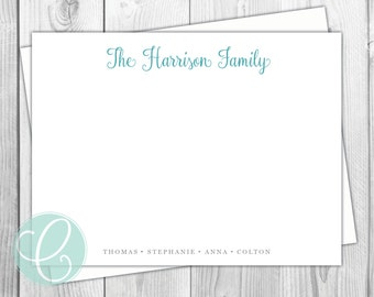 Family Stationery - Flat Note Cards - Set of 12 - Family Personalized Stationery - Names Kids