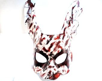 Zombie Rabbit Mask. ON SALE thru October,  Leather mask, Scary Rabbit, White Rabbit, Bunny, Splicer, Cosplay, Fantasy, Masquerade, Halloween